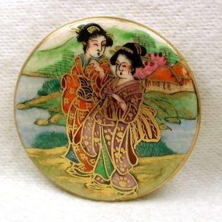 Vintage Satsuma Button Hand Painted 2 Geisha In Kimonos W/gold Accents 1 & 3/16