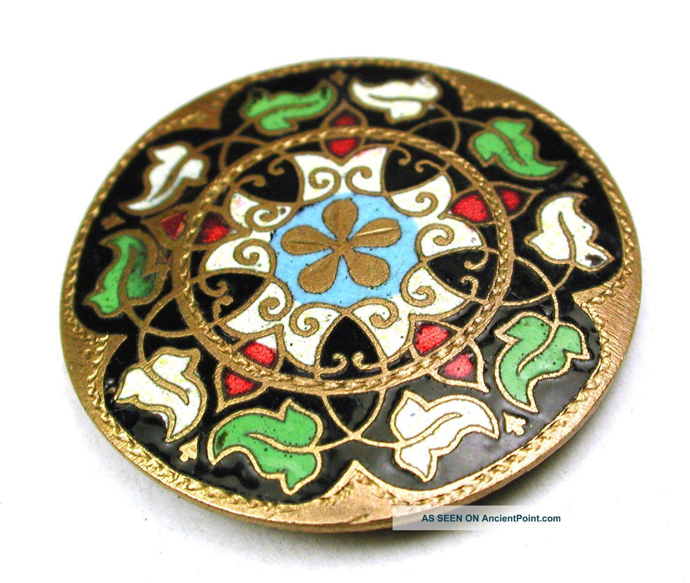 Antique Champlave Enamel Button Colorful Leaf Design Lg Sz 1 & 1/4