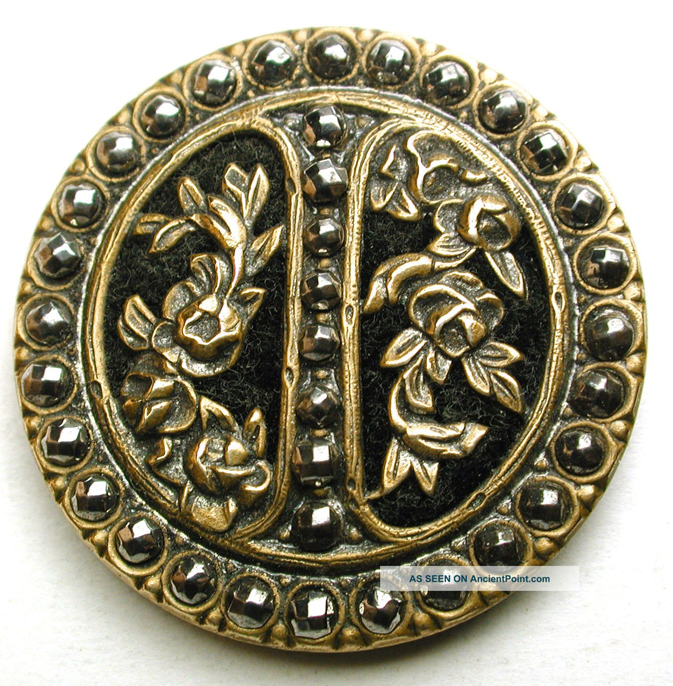 Antique Button Velvet Lined Pierced Brass Roses W Cut Steels Border 1 & 5/16