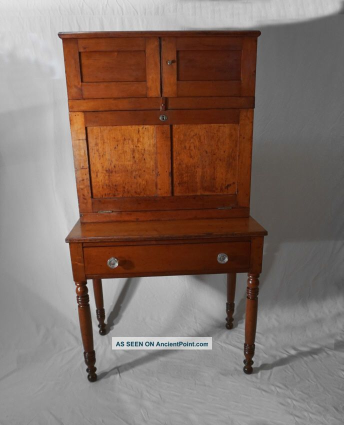 American Country 2 Part Paymasters Drop Front Desk In Solid Cherry C1830 1840. Pre-1800 photo