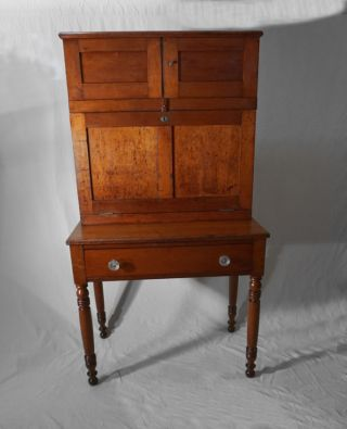 American Country 2 Part Paymasters Drop Front Desk In Solid Cherry C1830 1840. photo