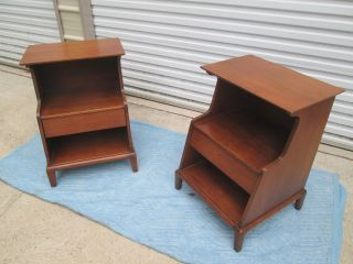 Henredon Heritage Walnut Night Stands End Tables Mid Century Modern photo