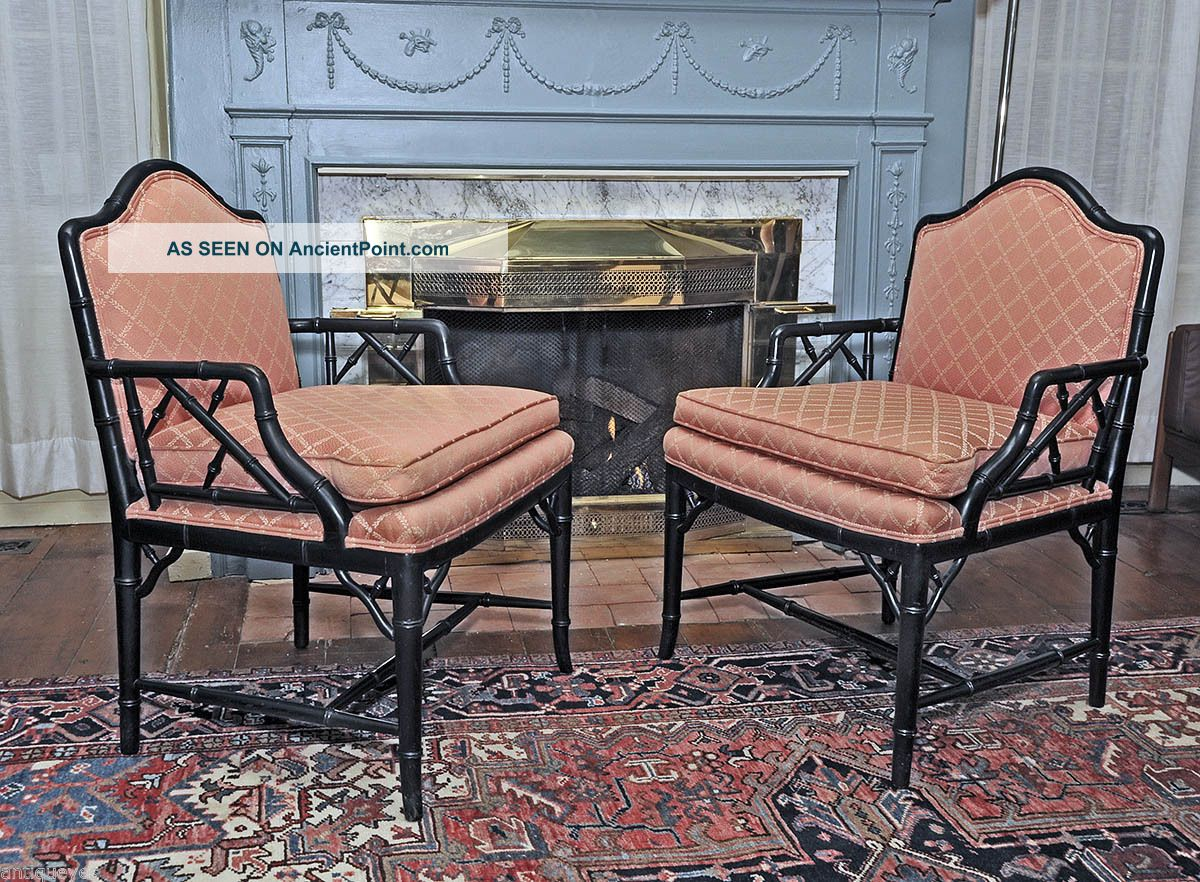 Pair Faux Bamboo Fire Side Lounge Or Club Armchairs Vintage Hollywood Regency 1800-1899 photo