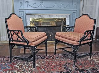 Pair Faux Bamboo Fire Side Lounge Or Club Armchairs Vintage Hollywood Regency photo