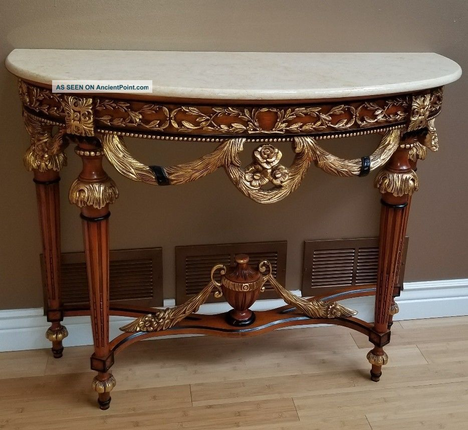 Antique Console Marble And Wood Gold And Black Table Post-1950 photo