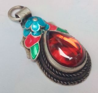 Tibet Silver Mosaic Heart - Shaped Red Zircon Cloisonne Plum Flower Pendant photo
