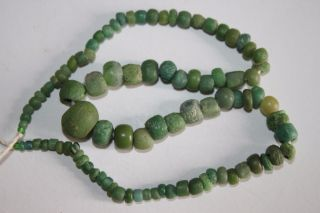 Roman Restrung Green Glass Necklace 1/2nd Century Ad photo