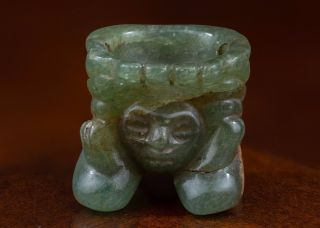 Mayan Jade Stone Amulet Pendant - Antique Pre Columbian Statue - Olmec photo