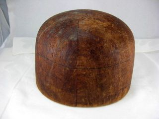 Antique Vtg Millinery Hat Wig Sizing Block Form Mold Wood Head Hatters Chicago photo