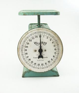 Vintage 1927 Way Rite 25 Pound Kitchen Scale Light Green All photo