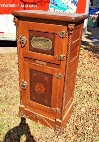 Rare Victorian Oak Heavily Carved Antique Parlor Icebox Lion ' S Faces Rope Twist photo