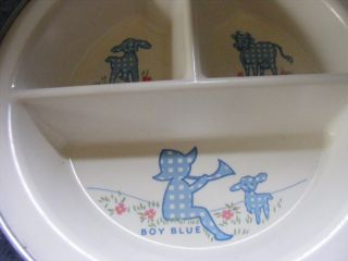 Boy Blue Handled Excello Metal Baby/childs Warming Dish W/stopper Cow Lamb photo
