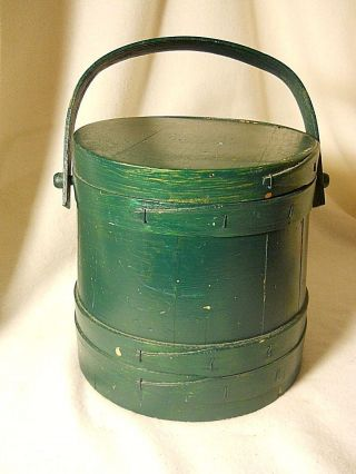 Vintage Wood Firkin - Wooden Sugar Bucket - Bentwood Handle - Old Green Paint photo