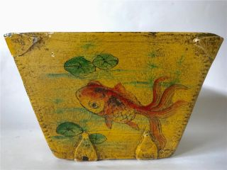 Antique Chinese Folk Art Primitive Rice Scoop Box Chinoiserie Painted Gold Fish photo