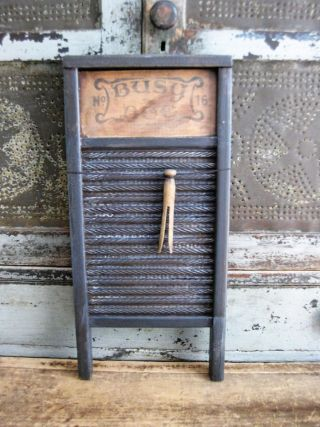Small Antique Wood And Tin Busy Bee Washboard Black Milk Paint photo