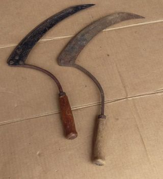 Antique Hand Sickle Scythes,  Vtg Old Farm Tools Primitive Barn Farmhouse Decor photo