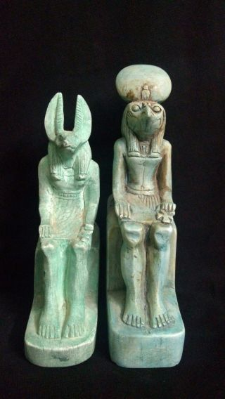 2 Ancient Egyptian Statue Of God Anubis And Horus (1390 - 1352 B.  C) - (300 - 250 Bc) photo