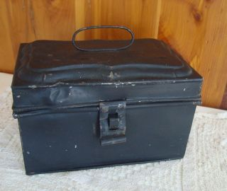 Antique 19c Black Tin Metal Ornate Hasp Hinged Lock Cash Box Lift - Up Bail Handle photo