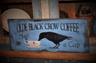 Large Primitive Blue Olde Black Crow Coffee Wood Sign Country Folk Art Decor photo