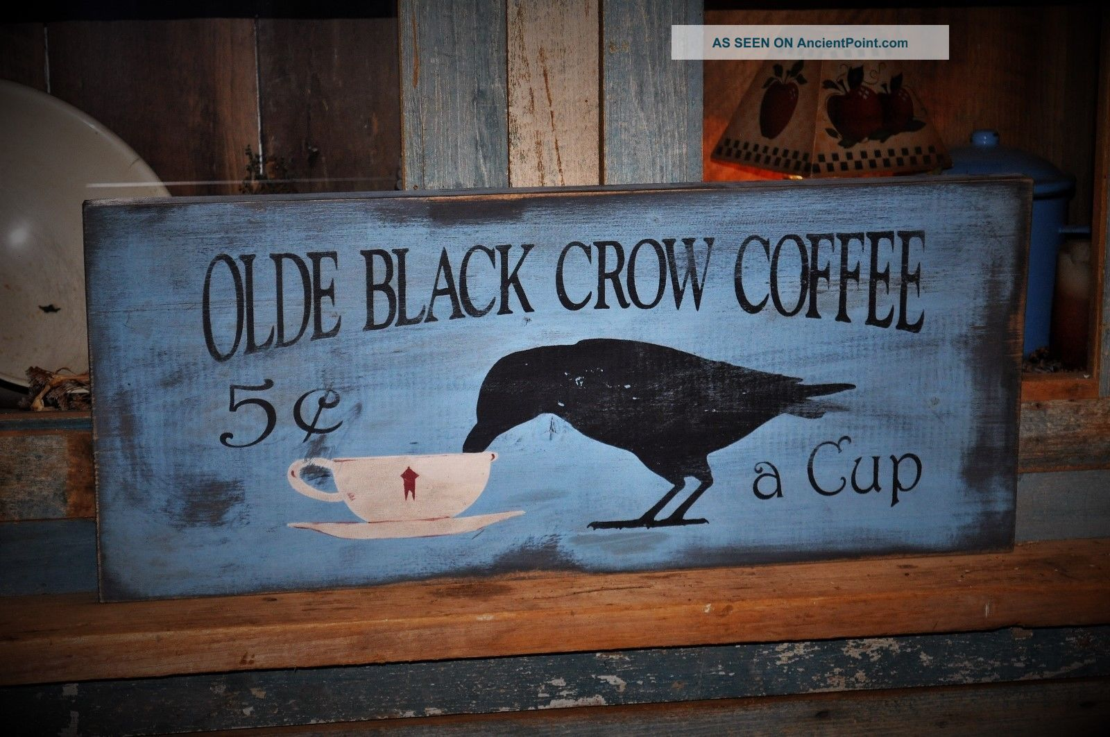 Large Primitive Blue Olde Black Crow Coffee Wood Sign