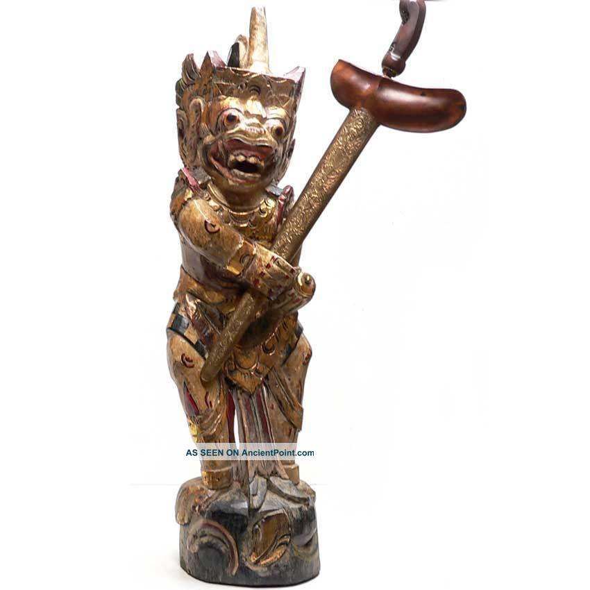 Keris Holder Hanuman Kris Pusaka Old Tribal Art Statue Spear Java Bali Indonesia Pacific Islands & Oceania photo