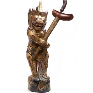 Keris Holder Hanuman Kris Pusaka Old Tribal Art Statue Spear Java Bali Indonesia photo