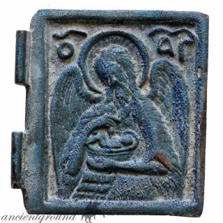 Very Rare 1700 - 1800 Ad Greek Bronze Christian Icon,  Large Size Depicting Saint photo