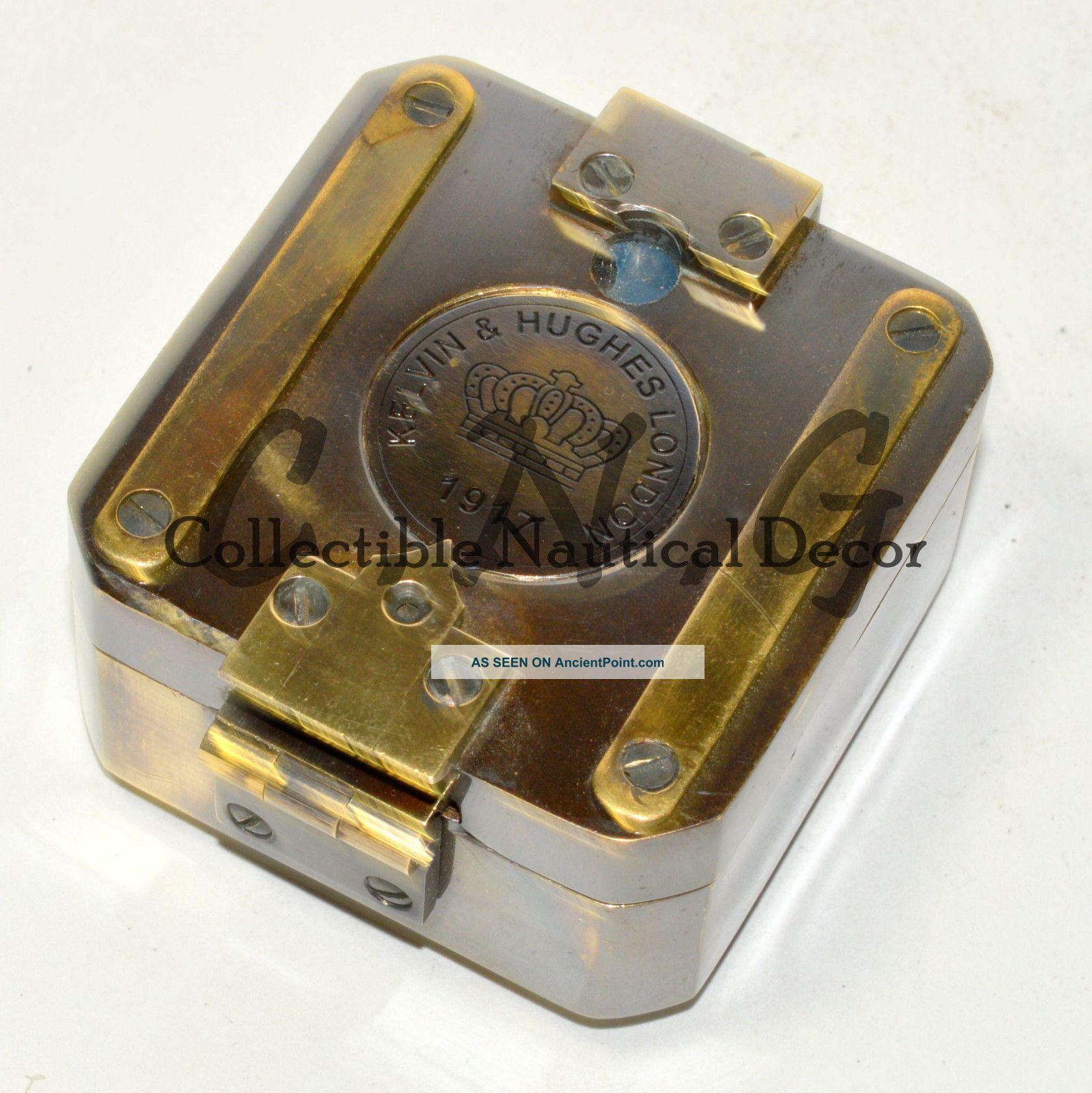 Kelvin & Hughs London 1917 Vintage Brass Brunton Compass 2.  5 Inch Compasses photo