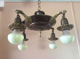 Antique Victorian Pan Chandelier 4 Arms Brass Accents 1920s photo