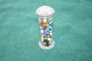 Apothecary Jar Filled 130 Vintage Marbles Agate Ox Blood Yolk Yellow photo
