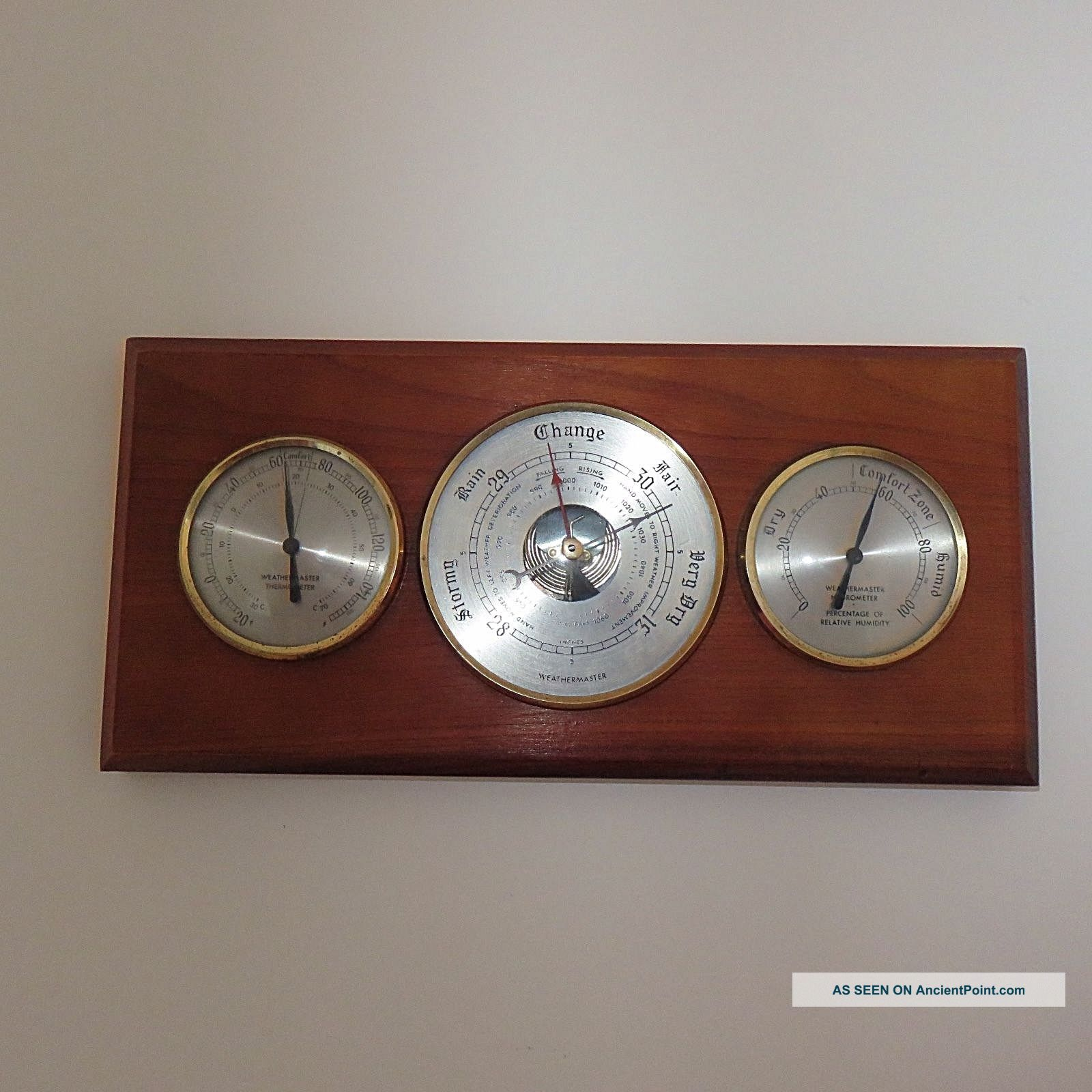 A ' Weathermaster ' Wall Barometer & Thermometer Other Antique Science Equip photo