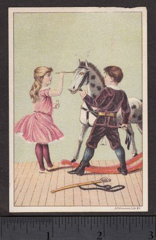 1880 ' S Dr Thompsons Eye Water Cure Antique Toy Rocking Horse Advertising Card photo