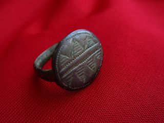 Engraved Ancient Roman Ring.  Bronze - Massive - Museum Quality photo