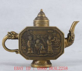 Old Brass Handwork Carved Teapot,  (aristocratic Life Scene Pattern) Qianlong Mark photo