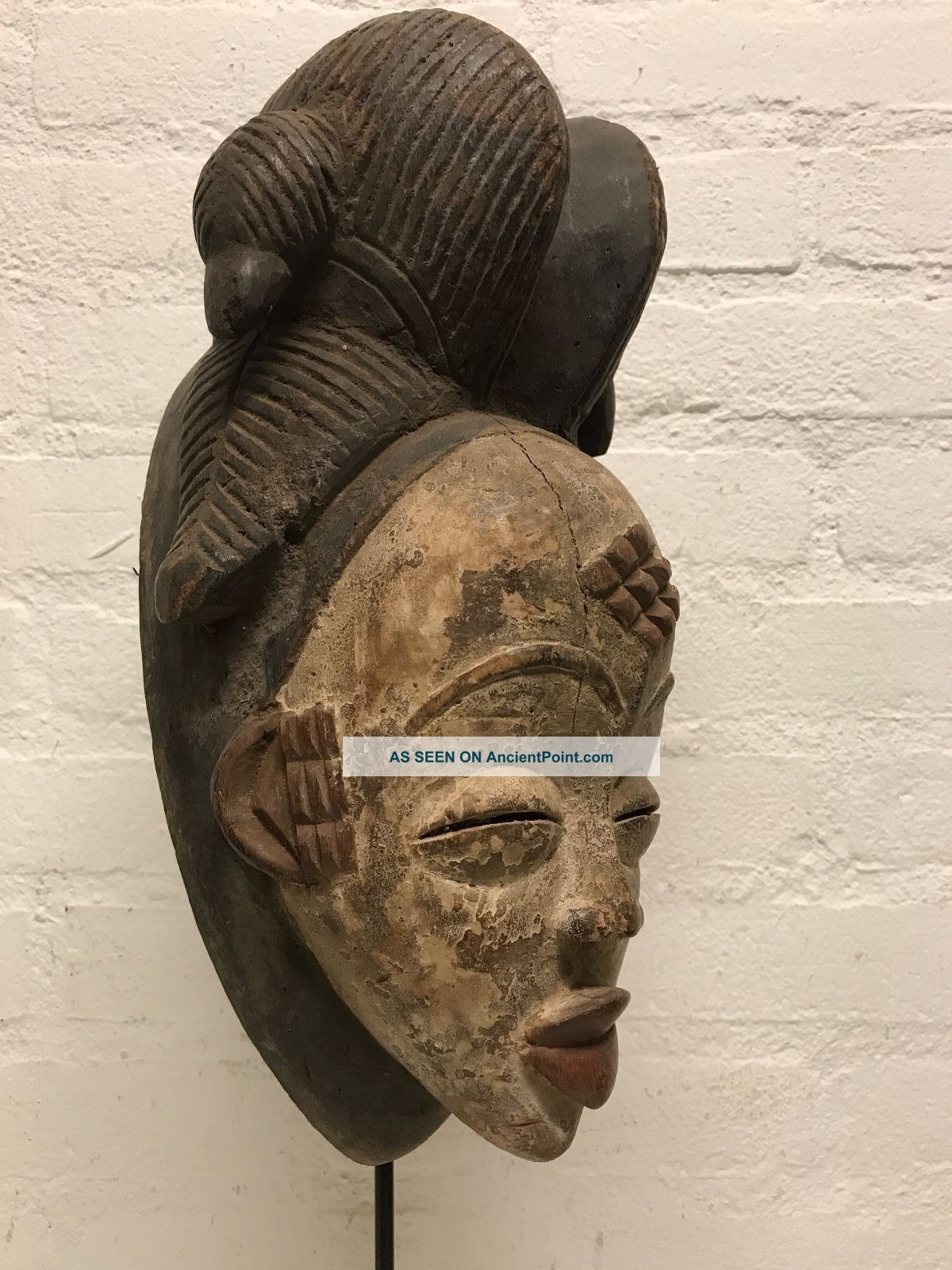 Gabon: Tribal Old African Female Mask From The Punu - 33 Cm. Masks photo