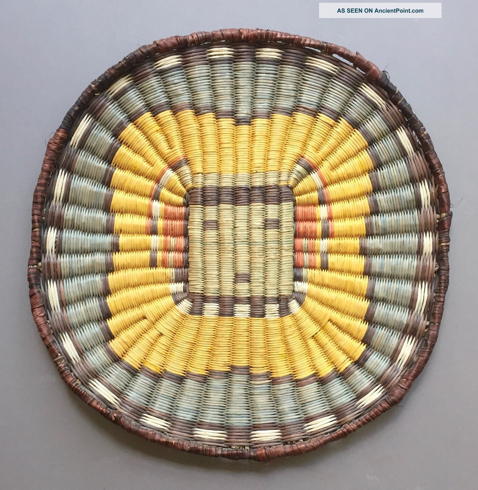 Hopi Wicker Basket Plaque - Kachina Design Native American photo