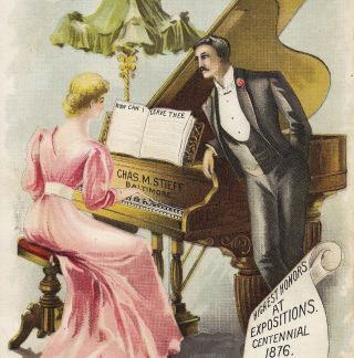 Chas.  M.  Stieff Piano Baltimore Factory View Music Store Advertising Trade Card photo