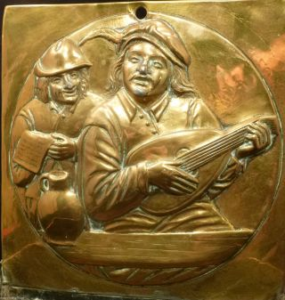 19th C Repousse Antique Brass Wall Pocket Renaissance Man Playing Mandolin Box photo