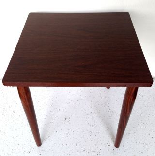 Vintage Mid Century Modern Danish Small Square Table Wood Tapered Legs photo