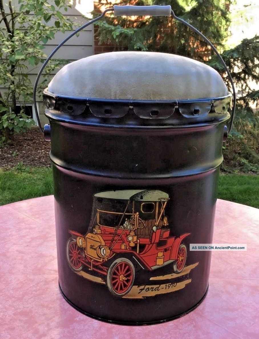 Vtg 70s Fireplace Ash Can Bucket Stool Ford Automobile Hearth Ware photo