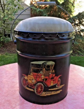 Vtg 70s Fireplace Ash Can Bucket Stool Ford Automobile photo