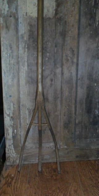 Primitive Old Wooden Hay Rake / Fork,  34