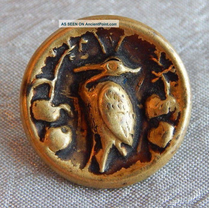 Antique Vintage Brass Picture Button Bird Crane 1310 - A Buttons photo
