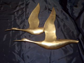 Vtg Mid Century Brass Wall Hanging Art Sculpture Birds Geese Flight Nautical 181 photo