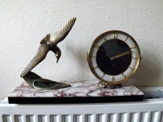 Art Deco Marble Based Clockwork Clock With Seagull Figurine & Key Order photo