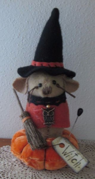 Primitive Wool Halloween Witch Mouse Broom Owl Make Do Pin Cushion Pfatt Ehag photo