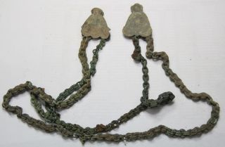 Ancient Viking Bronze Two Dividers And Chains.  Big Size Weight - 147g photo