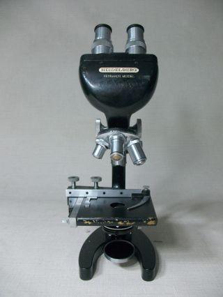 Heidelberg Research Model Microscope Binocular Vintage W/3 Objectives Good photo