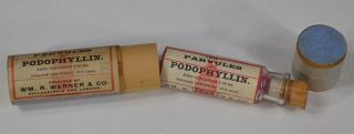 Pharmacy Apothecary Box Bottle Parvule ' S Podophyllin Medicine Antique photo