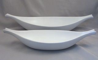 2 Signed Stig Lindberg Gustavsberg Pottery Carrera White Pungo Elongated Bowls photo